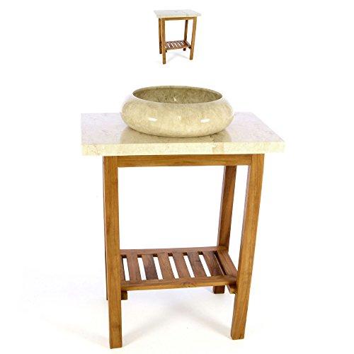 Divero Waschtisch Teakholz mit Natursteinplatte Marmor Creme Waschbecken Badmöbel