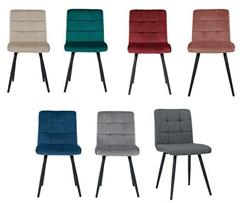 Duhome 4er Set Esszimmerstuhl aus Stoff Samt Farbauswahl Stuhl Retro Design Polsterstuhl mit Rückenlehne Metallbeine 8043B
