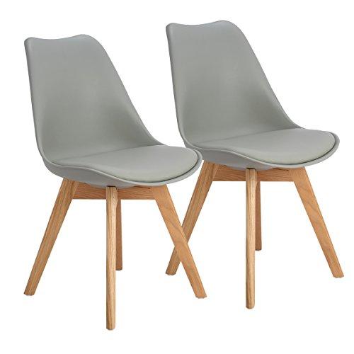 EGGREE Skandinavien Esszimmerstühle mit Massivholz Eiche Bein, Retro Design Gepolsterter Stuhl Küchenstuhl Holz