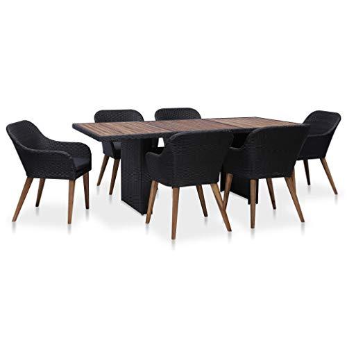 Festnight- 7-TLG. Garten Essgruppe mit Kissen Sitzgruppe | aus Poly Rattan |1 Tisch & 6 Stühle & 6 Kissen | Gartenmöbel Sitzgarnitur Set Poly Rattan Schwarz & Grau