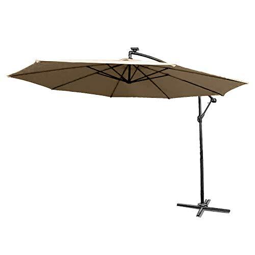 Froadp Ø300cm/Ø350cm Alu Knickbarer Sonnenschirme Höhenverstellbarer Ampelschirme mit kurbel Balkonschirm UV Schutz 40+ gartenschirm