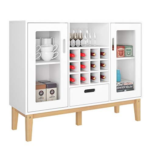 HOMECHO Buffetschrank Weiß Sideboard mit Weinregal Bar Weinschrank mit 12 Flaschen Anrichte für Küche Wohnzimmer Arbeitszimmer 100x80.5x33 cm
