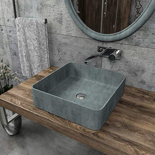 KERABAD Design Betonwaschbecken Waschtisch Aufsatzwaschbecken Waschschale aus Beton Grau eckig 36x36x12cm KB-B519-1