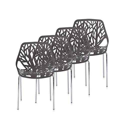 Makika Retro Stuhl Design Stuhl Esszimmerstühle Bürostuhl Wohnzimmerstühle Lounge Küchenstuhl Sitzgruppe 4er Set aus Kunststoff mit Rückenlehne CALUNA