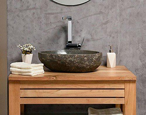 Naturstein Waschbecken 40 cm OVAL - einzeln geprüft und fotografiert - Suchen Sie Ihr Waschbecken mit Größe und Farbe aus - Stein Aufsatzwaschbecken für Bad WC - Stein Granit Findling Flussstein