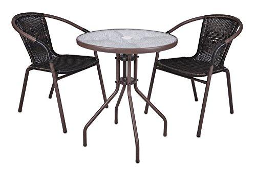 Nexos Bistroset Balkonset Rattanset - Sitzgarnitur aus Glastisch & Bistrostuhl - Stahlgestell Poly-Rattan Glasplatte - robust stapelbar - dunkel-braun