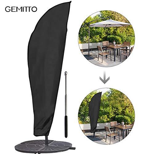 Sonnenschirm Schutzhülle mit Stab, GEMITTO Ampelschirm Schutzhülle 2 bis 4 M Große Sonnenschirm Abdeckung, Wetterfeste, UV-Anti, Winddicht und Schneesicher, Outdoor für Ampelschirm