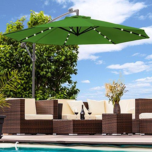 Swing & Harmonie Sonnenschirm mit LED Beleuchtung Ampelschirm 300cm / 350cm Solar Garten Schirm Pavillon