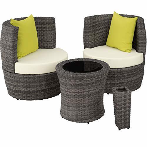 TecTake 800690 Aluminium Poly Rattan Sitzgruppe für 2 Personen, 8-teilig, Aufbewahrung in Ei-Form, wetterfest, inkl. Sitz- und Rückenkissen & Vase - Diverse Farben