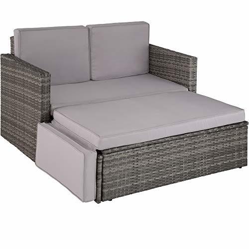 TecTake 800693 Poly Rattan Lounge Set, 2 Sitzer Sofa mit Hocker, Ottomane, inkl. Dicke Auflagen - Diverse Farben