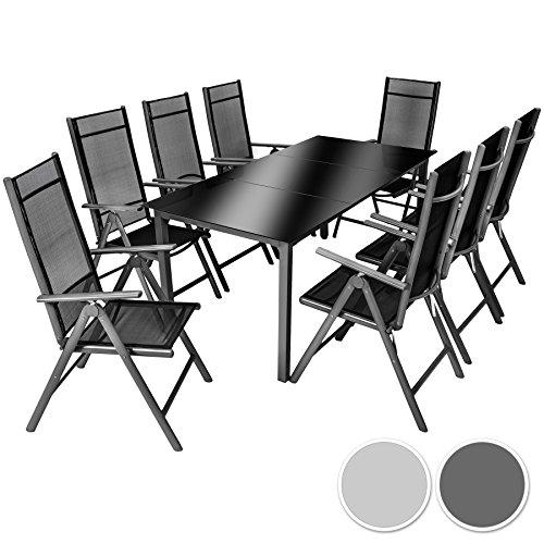 TecTake Aluminium Sitzgarnitur 8+1 Sitzgruppe Gartenmöbel Tisch & Stuhl-Set - Diverse Farben -