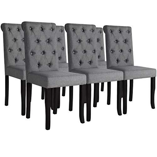 Tidyard Esszimmerstühle 6 STK. Essstuhl Set aus Massivholz Stoffpolsterung Küchenstühle 42 x 52 x 96 cm Dunkelgrau