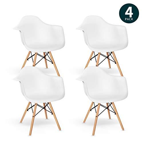 VADIM 4er Set weißen Stühle mit Massivholzbeinen, Skandinavischer Klassischer Esszimmerstuhl mit Rückenlehne und Armlehne Designstuhl für Schlafzimmer, Wohnzimmer, Küche, Wartezimmer