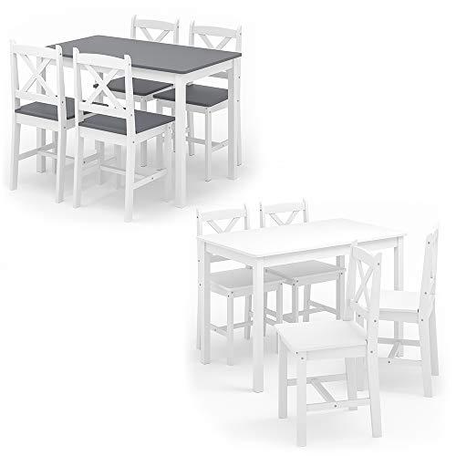 Vicco Esszimmerset Alara Tischgruppe Massiv Holz Essgruppe Esstisch Weiß Grau