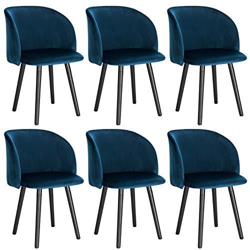 WOLTU 6 x Esszimmerstühle 6er Set Esszimmerstuhl Küchenstuhl Polsterstuhl Design Stuhl mit Armlehne, Gestell aus Massivholz, BH120-6