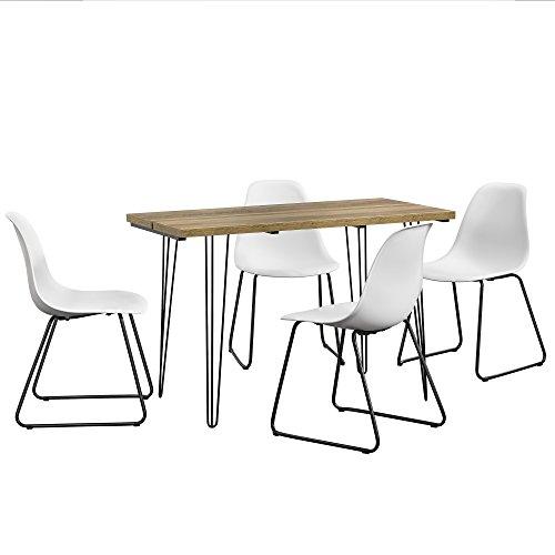 [en.casa] Esstisch 120x60cm Hairpinlegs mit 4 Stühlen weiß Kunststoff Tisch