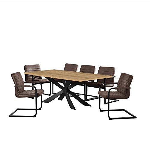 [en.casa] Esstisch Eiche Hell mit 6 Stühlen Freischwinger gepolstert Dunkelbraun 200x100cm Esszimmer Essgruppe Küche
