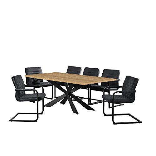[en.casa] Esstisch Eiche Hell mit 6 Stühlen Freischwinger gepolstert schwarz 200x100cm Esszimmer Essgruppe Küche