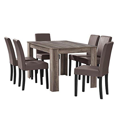 [en.casa] Esstisch Eiche antik mit 6 Stühlen braun Kunstleder gepolstert 140x90 Essgruppe Esszimmer