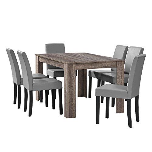 [en.casa] Esstisch Eiche antik mit 6 Stühlen hellgrau Kunstleder gepolstert 140x90 Essgruppe Esszimmer