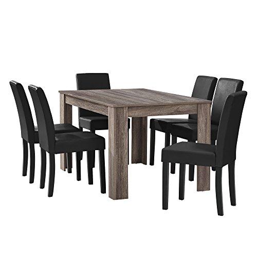 [en.casa] Esstisch Eiche antik mit 6 Stühlen schwarz Kunstleder gepolstert 140x90 Essgruppe Esszimmer