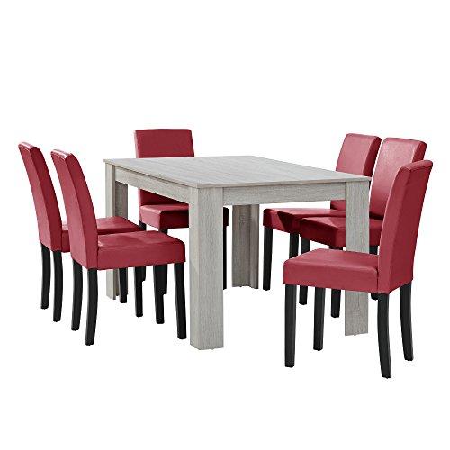 [en.casa] Esstisch Eiche weiß mit 6 Stühlen Dunkelrot Kunstleder Gepolstert 140x90 Essgruppe Esszimmer
