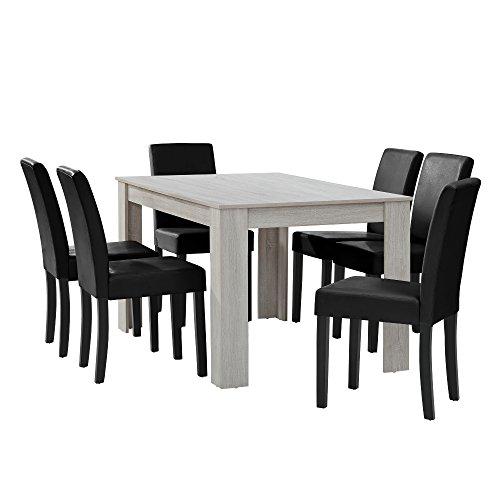 [en.casa] Esstisch Eiche weiß mit 6 Stühlen schwarz Kunstleder gepolstert 140x90 Essgruppe Esszimmer