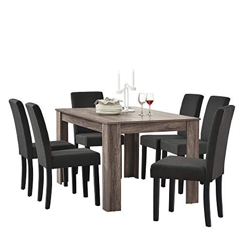 [en.casa] Esstisch in edlem und antiken Eichen-Design mit 6 Esszimmerstühlen in dunkelgrau - 140x90cm