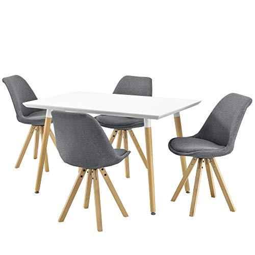 [en.casa] Esstisch mit 4 Stühlen Textil grau 120x70cm Küchentisch Esszimmertisch