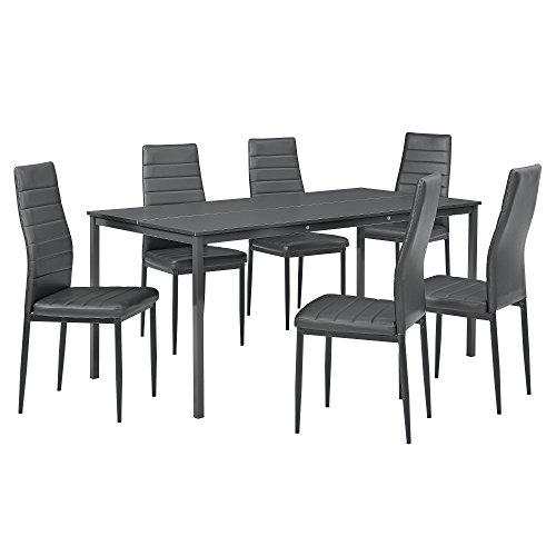 [en.casa] Esstisch mit 6 Kunstleder Stühlen