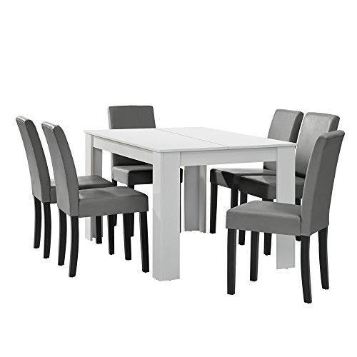 [en.casa] Esstisch weiß matt mit 6 Stühlen Hellgrau Kunstleder Gepolstert 140x90 Essgruppe Esszimmer