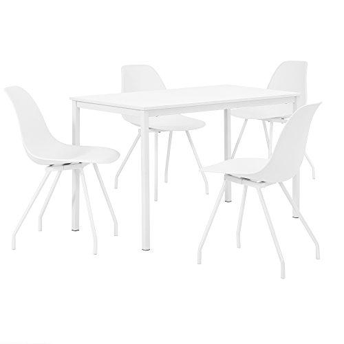 [en.casa] Esszimmerset mit Tisch mit 4 Stühlen 120x60cm Essgruppe Esstisch Stuhl Küchentisch Sitzgruppe Esszimmer Set Weiß