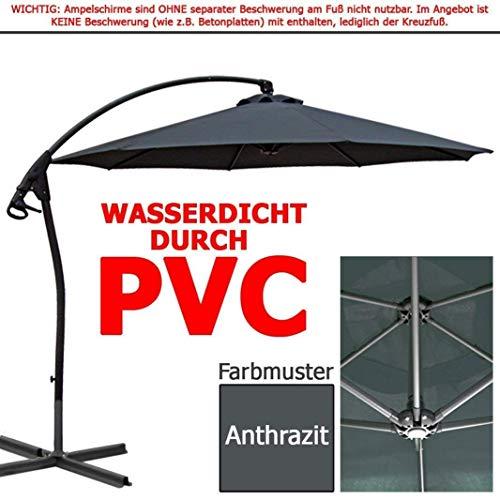 habeig WASSERDICHT Ampelschirm 3m Anthrazit durch PVC Schirm 300cm Sonnenschirm