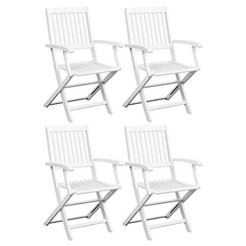 mewmewcat 4er Set Klappstühle Esszimmerstühle Holz Klappbare Essstühle Gartenstühle Klappsessel 51 x 56 x 92 cm Weiß