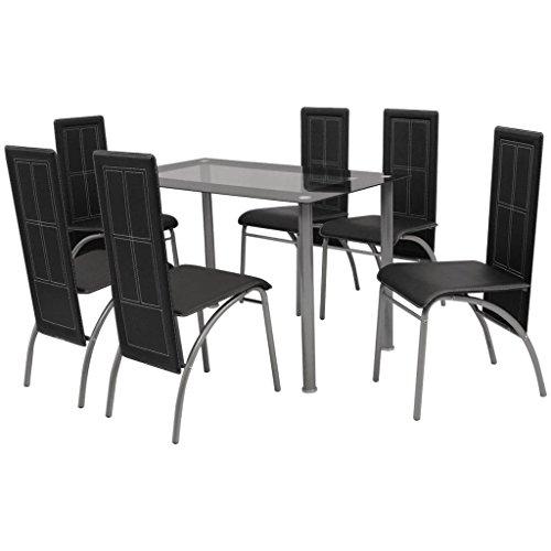 mewmewcat 7tlg. Set Essgruppe 1 Tisch + 6 Stühle Esszimmertisch Essstuhl Tischgruppe Schwarz Tisch: 120 x 70 x 75 cm Stühle: 44 x 54 x 95 cm