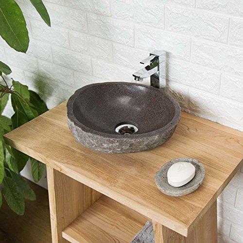 wohnfreuden 30 cm Waschbecken aus Naturstein - Steinwaschbecken ✓ Unikat Auswahl nach Kauf