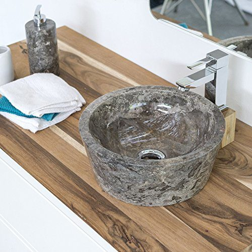 wohnfreuden Marmor Waschbecken 30 cm grau ✓ rund poliert ✓ Steinwaschbecken oder Naturstein Aufsatzwaschbecken für Bad Gäste WC ✓ inkl. techn. Zeichnung ✓ schnell