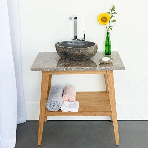 wohnfreuden Marmor Waschtisch-Platte Kathrin 80x55x3 cm grau eckig Hochglanz poliert ✓ Naturstein-Platte für Waschbecken