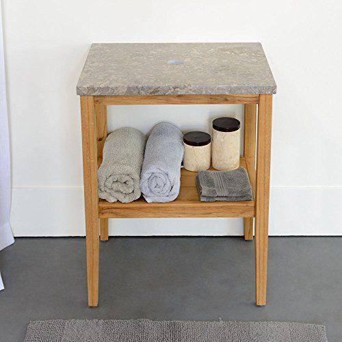 wohnfreuden Marmor Waschtisch-Platte zu Susi Teak Waschtisch grau 60x45x3 cm Hochglanz poliert ✓ Naturstein-Platte für Waschbecken
