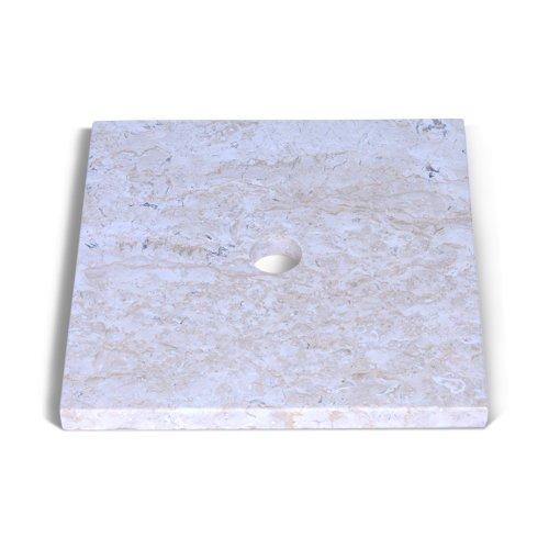 wohnfreuden Marmor Waschtisch-platte SMINI 40x40x3 cm eckig creme ✓ Naturstein-Platte für Waschbecken