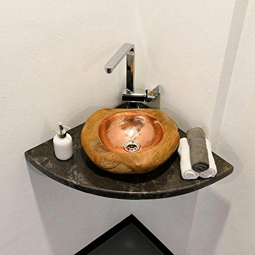 wohnfreuden Naturstein Marmor Waschtisch-Platte für Aufsatzwaschbecken 55x55x3 cmhochglanz poliert ✓ Naturstein-Platte für Waschbecken