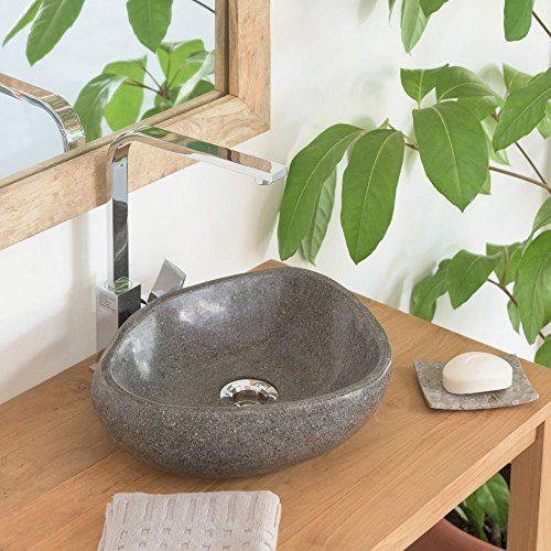 wohnfreuden Naturstein - Waschbecken 30 cm Steinwaschbecken aus Stein rundum poliert