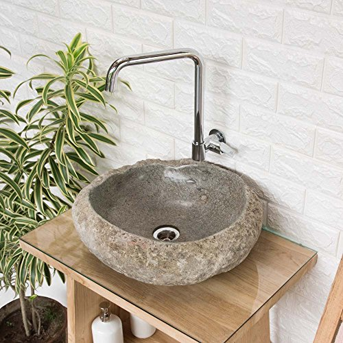 wohnfreuden Naturstein - Waschbecken 40-50 cm Steinwaschbecken aus Stein oval