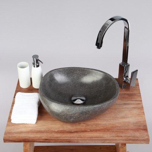 wohnfreuden Naturstein Waschbecken Steinwaschbecken rund 30 cm innen und aussen poliert für Waschtisch im Gäste WC Bad