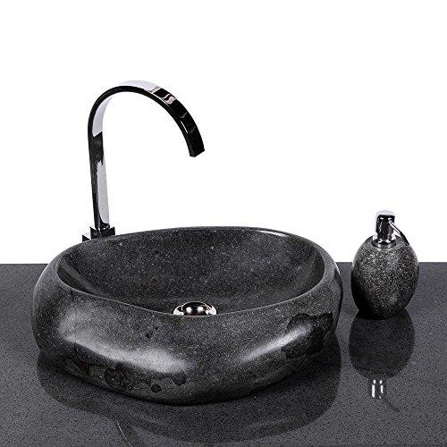wohnfreuden Naturstein Waschbecken Wave 40 cm aus Stein aussen poliert Aufsatzwaschbecken Findling für Waschtisch