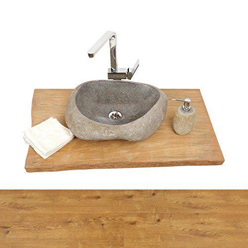 wohnfreuden Teakholz Waschtischplatte für Naturstein Waschbecken ✓ Holz-Platte für Waschbecken ✓ antikes Teakholz ausgetrocknet ✓ Unterbau Gr. L 100 cm