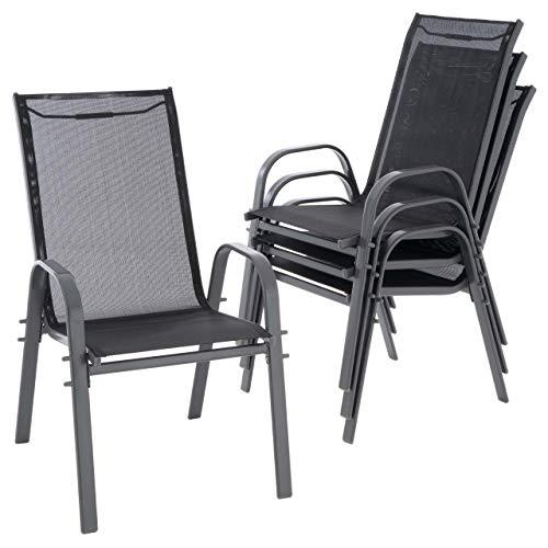 Nexos 4er Set Gartenstuhl Camping Stapelstuhl Hochlehner Terrassenstuhl - Textilene Stahl stapelbar - Bespannung schwarz Rahmenfarbe wählbar grau anthrazit