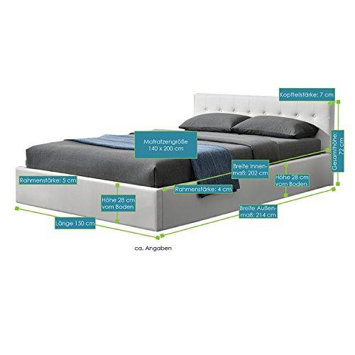 ArtLife Polsterbett Marbella 140x200 cm – Bett inkl. Bettkasten und Lattenrost – Bettgestell gepolstert mit Kunstleder & Holz – weiß