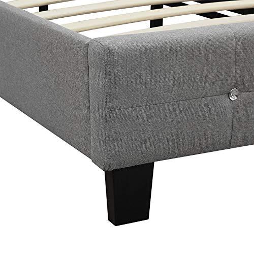 CARO-Möbel Polsterbett Delaware Bettgestell 90 x 200 cm Einzelbett Designbett mit Strasssteinen inklusive Lattenrost Textilbezug in grau