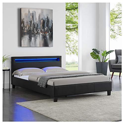 CARO-Möbel Polsterbett Jerry Einzelbett Bettgestell in schwarz mit LED Beleuchtung, 140 x 200 cm, inklusive Lattenrost
